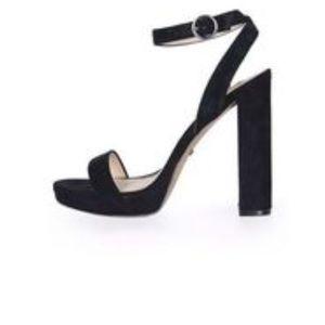 Topshop black suede strappy high heel sandals sz 8